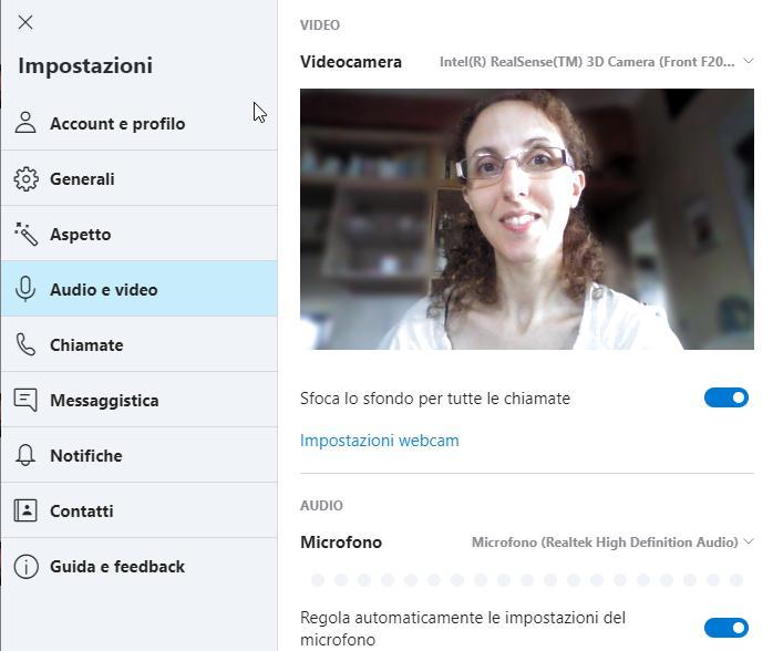 Sfondo sfocato nelle videochiamate Skype